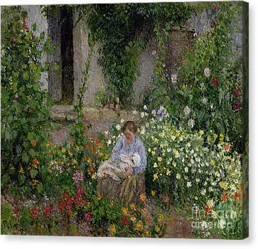Mother And Child In The Flowers Canvas Print