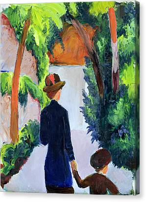 Mother And Child In The Park Canvas Print by August Macke
