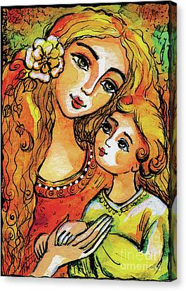 Canvas Print featuring the painting Mother And Child In Yellow by Eva Campbell