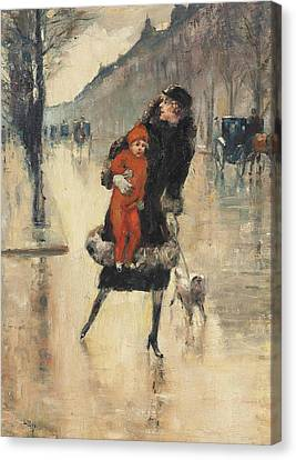 Mother And Child On A Street Crossing Canvas Print