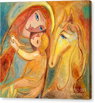 Mother And Child On Horse Canvas Print by Shijun Munns