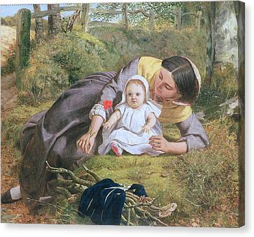 Mother And Child With A Poppy Canvas Print by Frederick Richard Pickersgil