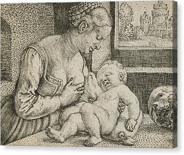 Mother And Child With Skull And Hourglass Canvas Print by Barthel Beham