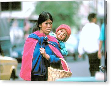 Canvas Print featuring the photograph Mother And Daughter Ecuador by Douglas Pike