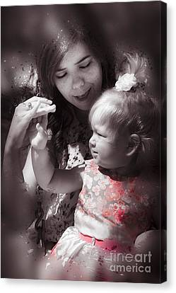 Mother And Daughter Hand In Hand Canvas Print