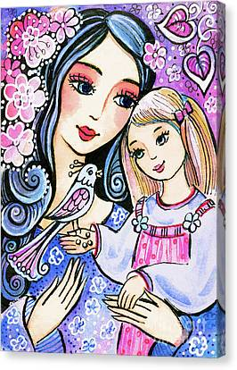 Canvas Print featuring the painting Mother And Daughter In Blue by Eva Campbell