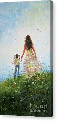 Mother And Daughter In Flowers	 Canvas Print by Vickie Wade
