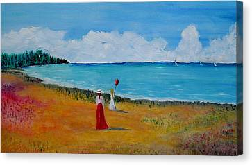 Canvas Print featuring the painting Mother And Daughter by Marilyn  McNish