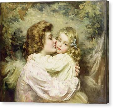Hug Canvas Print - Mother And Daughter  by Thomas Benjamin Kennington