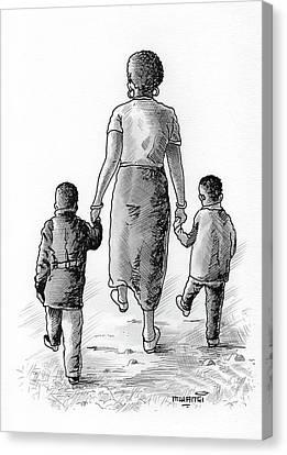 Biro Art Canvas Print - Mother And Kids by Anthony Mwangi