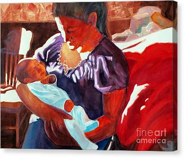 Mother And Newborn Child Canvas Print by Kathy Braud