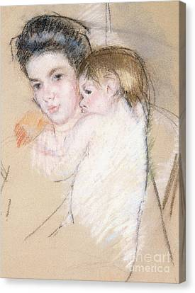 Mother And Nude Child Canvas Print by Mary Stevenson Cassatt