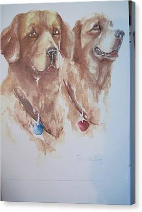 Mother And Son Golden Retrievers Canvas Print by Peg Whiting