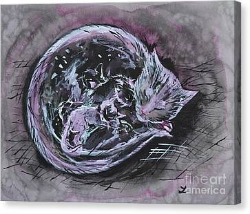 Canvas Print featuring the painting Mother Cat With Kittens by Zaira Dzhaubaeva