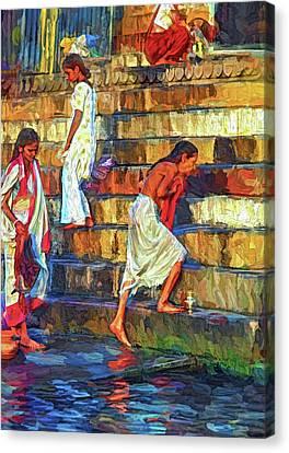 Moksha Canvas Print - Mother Ganges - Paint 2 by Steve Harrington