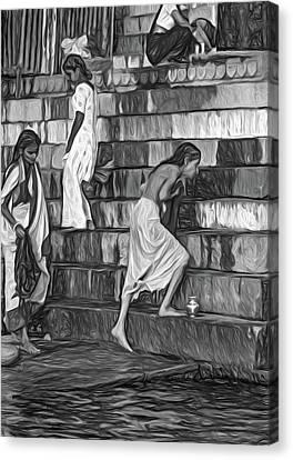 Moksha Canvas Print - Mother Ganges - Paint Bw by Steve Harrington