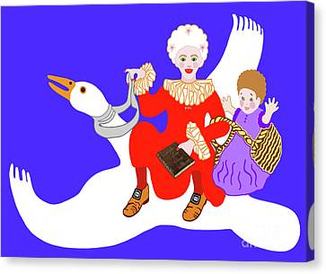 Canvas Print featuring the painting Mother Goose On Her Flying Goose by Marian Cates