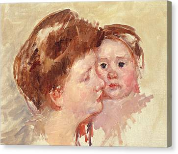 Caring Mother Canvas Print - Mother In Profile With Baby Cheek To Cheek by Mary Stevenson Cassatt