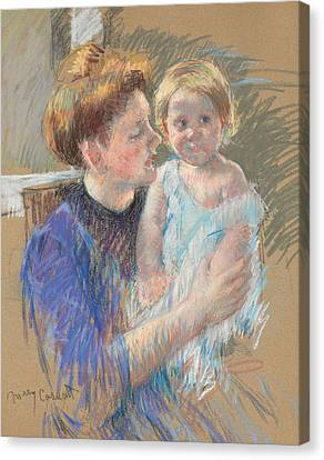 Caring Mother Canvas Print - Mother In Purple Holding Her Child by Mary Stevenson Cassatt