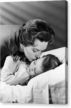 Sweet Touch Canvas Print - Mother Kissing Girl Goodnight, C.1950s by H. Armstrong Roberts/ClassicStock