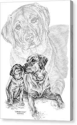 Mother Labrador Dog And Puppy Canvas Print by Kelli Swan