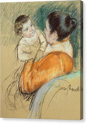 Caring Mother Canvas Print - Mother Louise Holding Up Her Blue Eyed Child by Mary Stevenson Cassatt