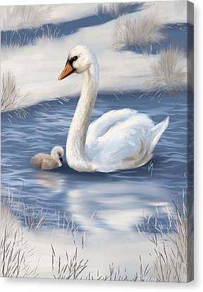 Canvas Print featuring the painting Mother Love by Veronica Minozzi