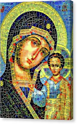 Mother Mary Mosaic Icon 1 Canvas Print