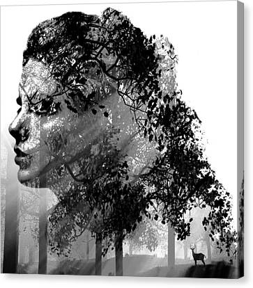 Mother Nature Black And White Canvas Print by Marian Voicu