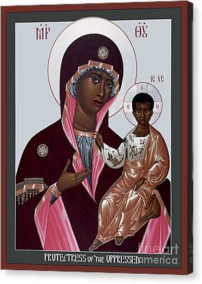 Mother Of God - Protectress Of The Oppressed - Rlpoo Canvas Print by Br Robert Lentz OFM