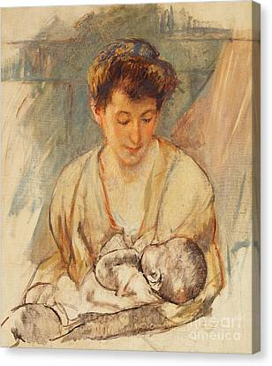 Caring Mother Canvas Print - Mother Rose Looking Down At Her Sleeping Baby by Mary Stevenson Cassatt