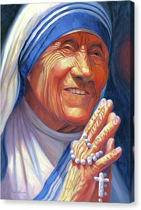 Rosary Canvas Print - Mother Teresa by Steve Simon