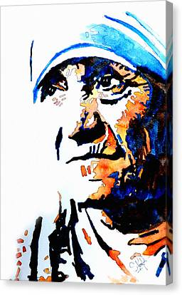 Blue Flowers Canvas Print - Mother Teresa by Steven Ponsford