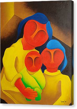 Mother With Her Children  1987 Canvas Print by S A C H A -  Circulism Technique