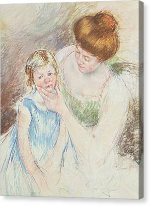 Caring Mother Canvas Print - Mother With Left Hand Holding Sara's Chin  by Mary Stevenson Cassatt