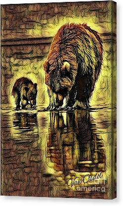 Fed Canvas Print - Mother With Young Cub - Autumns Arrival Abstract  by Scott D Van Osdol