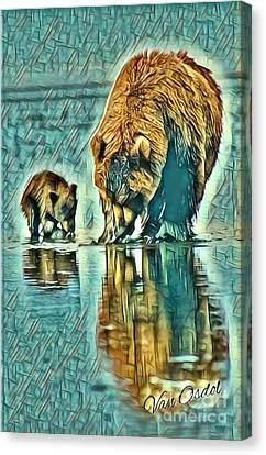 Fed Canvas Print - Mother With Young Cub - Morning Frost Abstract  by Scott D Van Osdol