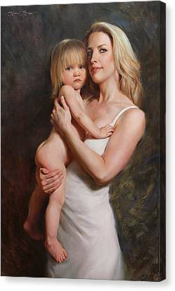Self-portrait Canvas Print - Motherhood by Anna Rose Bain
