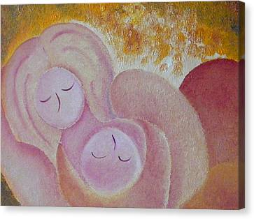 Motherhood Oil Painting Sweet Sleeping Original By Gioia Albano Canvas Print