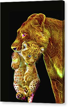 Lioness Canvas Print - Motherly Love by Michael Durst