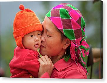 Canvas Print featuring the photograph Motherly Love, Sa Pa, 2014 by Hitendra SINKAR