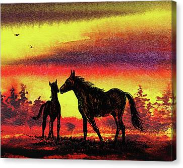 Canvas Print featuring the painting Mother's Love - Two Horses by Irina Sztukowski