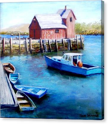 Canvas Print featuring the painting Motif One Rockport Harbor by Jack Skinner