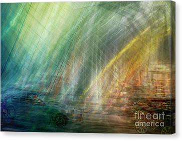 Canvas Print featuring the photograph motion in Dublin street by Ariadna De Raadt