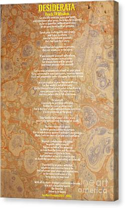 Motivational - Desiderata - Pearls Of Wisdom Canvas Print by Celestial Images