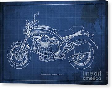 Moto Guzzi Griso1200 8v Motorcycle Blueprint, Blue Background Canvas Print by Pablo Franchi