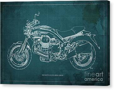 Moto Guzzi Griso1200 8v Motorcycle Blueprint, Green Background Canvas Print by Pablo Franchi