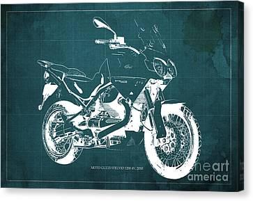 Moto Guzzi Stelvio 1200 4v 2010, Green Blueprint Canvas Print by Pablo Franchi