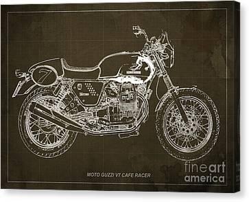 Moto Guzzi V7 Cafe Racer Canvas Print by Pablo Franchi