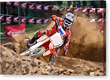Canvas Print featuring the painting Moto-x by Robert Smith